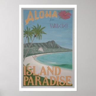 """HAWAIANA de la impresión de Waikiki (12"""" x18"""") Póster"""