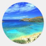 ¡Hawaiana de la playa de la bahía de Hanauma! Etiqueta Redonda