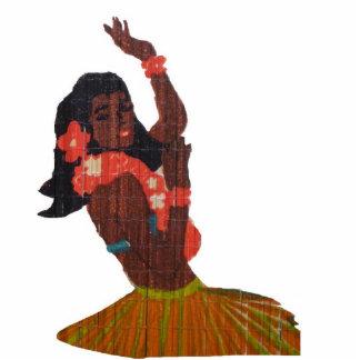 Hawaiana del bailarín de Hula Fotoescultura Vertical