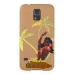 Hawaiana del chica de Hula con arte de la palmera