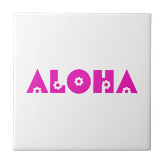 Hawaiana en flores rosadas azulejo cuadrado pequeño