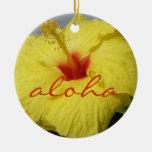 Hawaiana, hibisco amarillo de Hawaii Ornamento De Reyes Magos