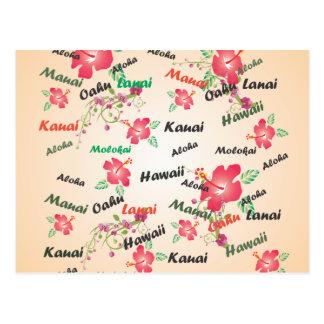 hawaiana, Kauai, Hawaii, Oahu, Maui, fondo del lan Postales