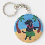 Hawaiana Labrador negro Llavero Personalizado