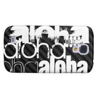 Hawaiana; Rayas negras y gris oscuro Funda Para Galaxy S4