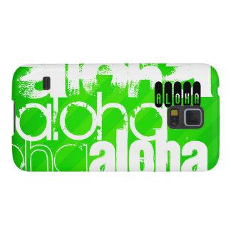 Hawaiana; Rayas verdes de neón Funda De Galaxy S5
