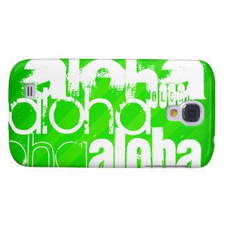 Hawaiana; Rayas verdes de neón Funda Para Galaxy S4