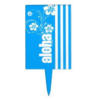Hawaiana; Rayas verticales del azul de cielo; Raya Decoraciones De Tartas