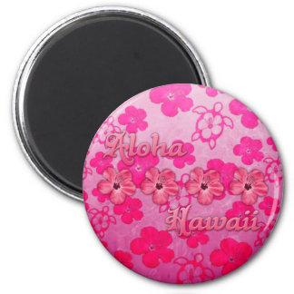 Hawaiana rosada Hawaii Imán Redondo 5 Cm