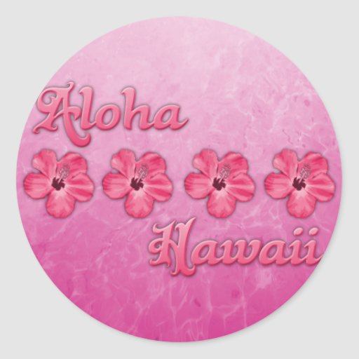 Hawaiana rosada Hawaii Pegatina Redonda