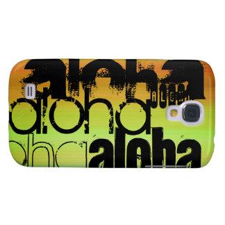 Hawaiana; Verde vibrante, naranja, y amarillo Funda Para Galaxy S4