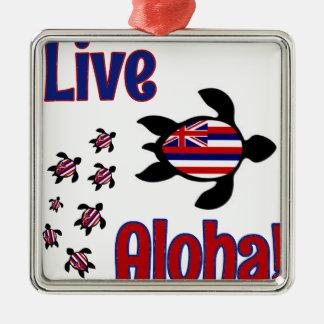 ¡Hawaiana viva! Adorno Navideño Cuadrado De Metal