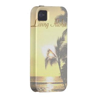 Hawaiana viva de la escena tropical de Hawaii Vibe iPhone 4 Funda