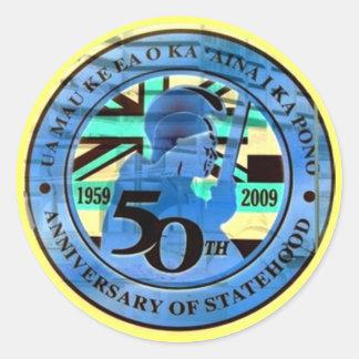 Hawaii 50th Button Classic Round Sticker