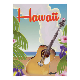 Hawaii acoustic guitar vintage travel poster. poster