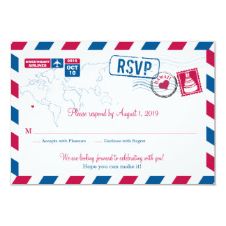 HAWAII Air Mail Wedding RSVP Card