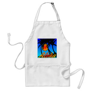 Hawaii Aloha Palm Trees Sunset Adult Apron