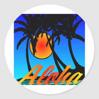Hawaii Aloha Palm Trees Sunset Classic Round Sticker