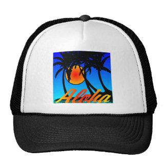 Hawaii Aloha Palm Trees Sunset Hats