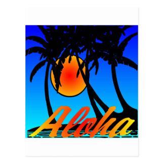 Hawaii Aloha Palm Trees Sunset Postcard
