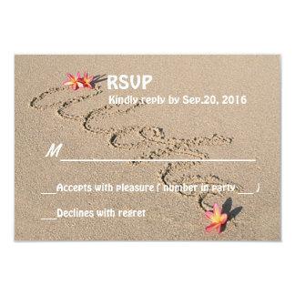 Hawaii Aloha Plumeria Flower Beach Wedding RSVP Invites