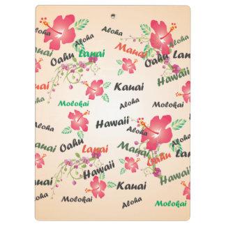 Hawaii Aloha Print with Flowers and Island Names Clipboards