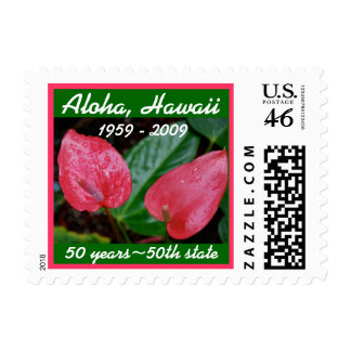 Hawaii : antheriums for the big 5-oh postage