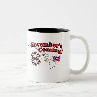 Hawaii Anti ObamaCare – November's Coming! Two-Tone Coffee Mug