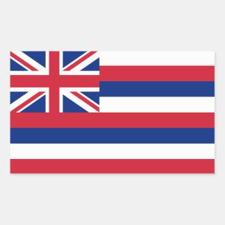 Hawaii/bandera hawaiana del estado, Estados Unidos Pegatina Rectangular