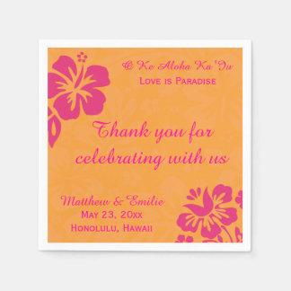 Hawaii Beach Flowers Personalized Wedding Napkins Standard Cocktail Napkin
