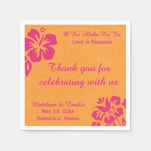Hawaii Beach Flowers Personalized Wedding Napkins Paper Napkin