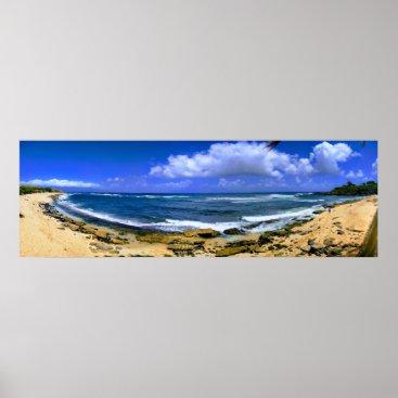 Hawaiian Themed Hawaii Beach Panorama Poster