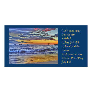 Hawaii beach photo invitation