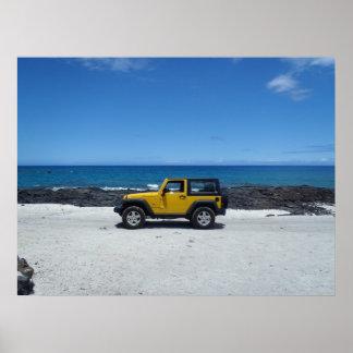 Hawaii beach scene adventure poster