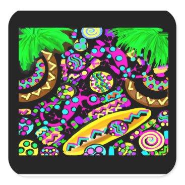 Beach Themed Hawaii.Beach Square Sticker
