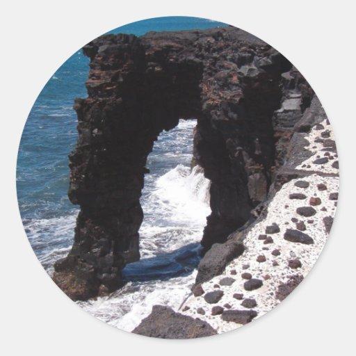 Hawaii Beach Stone Arch Round Sticker