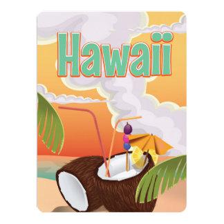 Hawaii beach vacation poster card
