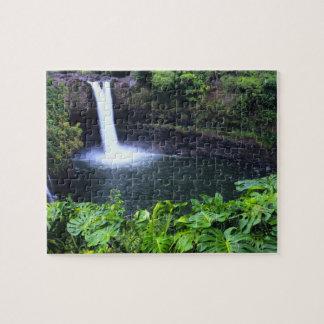 Hawaii, Big Island, Hilo, Rainbow Falls, Lush Jigsaw Puzzle