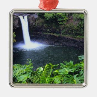 Hawaii, Big Island, Hilo, Rainbow Falls, Lush Metal Ornament