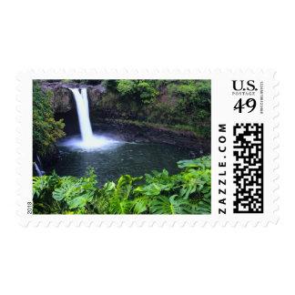 Hawaii, Big Island, Hilo, Rainbow Falls, Lush Postage Stamp