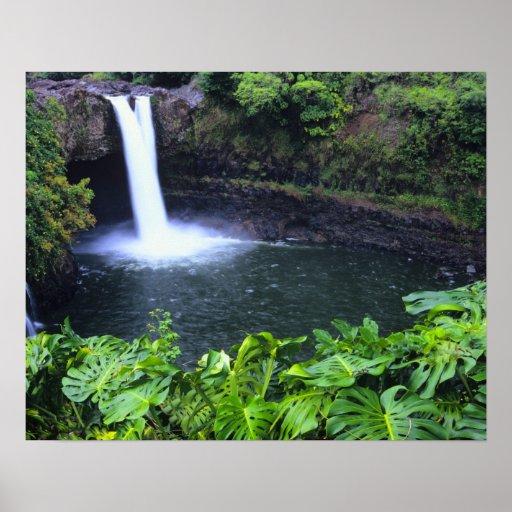 Hawaii, Big Island, Hilo, Rainbow Falls, Lush Poster