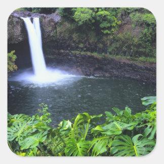 Hawaii, Big Island, Hilo, Rainbow Falls, Lush Square Stickers