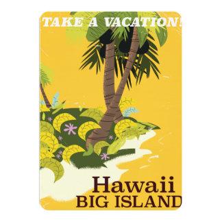 Hawaii big island vintage travel poster card