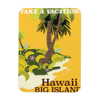 Hawaii big island vintage travel poster magnet