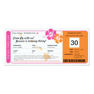 Hawaii Birthday Boarding Pass Card