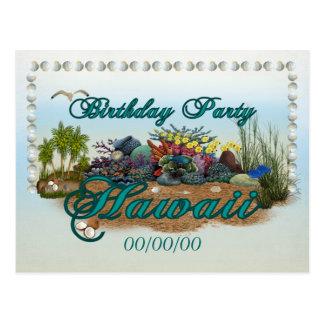 Hawaii Birthday Party Postcard