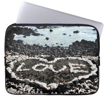 "Beach Themed Hawaii black sand beach & coral ""love"" heart photo computer sleeve"
