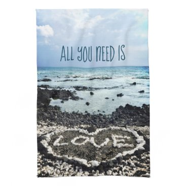 "Beach Themed Hawaii black sand beach & coral ""love"" heart photo hand towel"