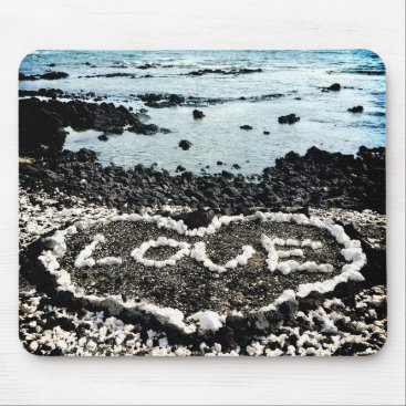 "Beach Themed Hawaii black sand beach & coral ""love"" heart photo mouse pad"