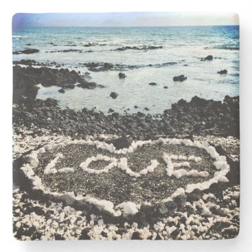 "Beach Themed Hawaii black sand beach & coral ""love"" heart photo stone coaster"